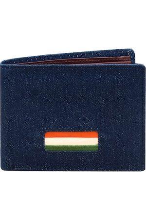 DR. HENRY Men Blue Self Design Two Fold Leather Wallet