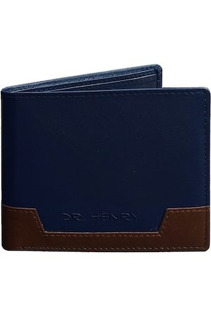 DR. HENRY Men Blue & Brown Colourblocked Two Fold Leather Wallet