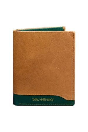DR. HENRY Men Tan & Green Textured Two Fold Leather Wallet