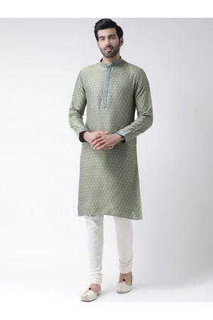 KISAH Men Green Ethnic Motifs Jacquard Mandarin Collar Kurta