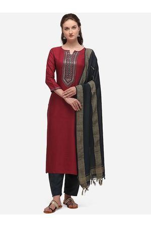 SheWill Women Maroon & Navy Blue Yoke Design Kurta with Salwar & Dupatta