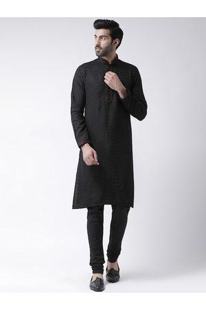 KISAH Men Black Thread Work Woven Design Mandarin Collar Cotton Kurta