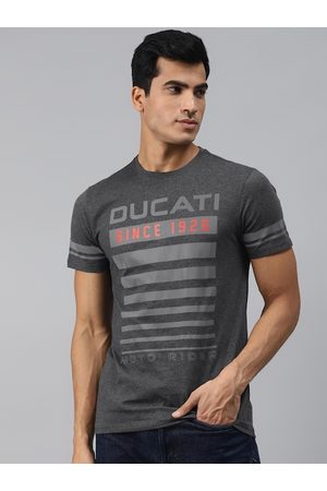 DUCATI Men Charcoal Grey & Red Brand Logo Print Pure Cotton Round Neck T-shirt