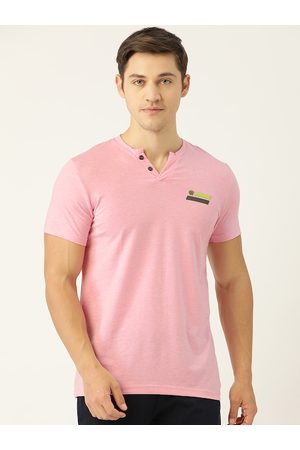 Sweet Dreams Men Pink Solid Henley Neck T-shirt