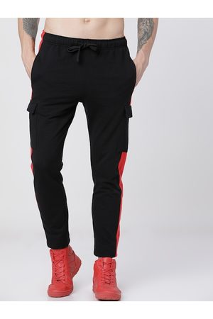 Highlander Men Black & Red Solid Slim-Fit Track Pants