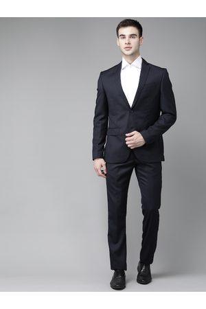 Blackberrys Men Navy Blue Self-Design Slim Fit Formal Suit
