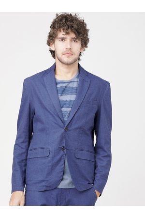 Highlander Men Blue Solid Single-Breasted Cotton Linen Casual Blazer