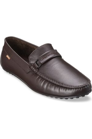 Duke Men Brown Synthetic Textured Loafers Casual Shoes