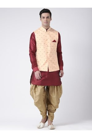 DEYANN Men Peach-Coloured & Maroon Self Design Kurta with Patiala and Nehru Jacket