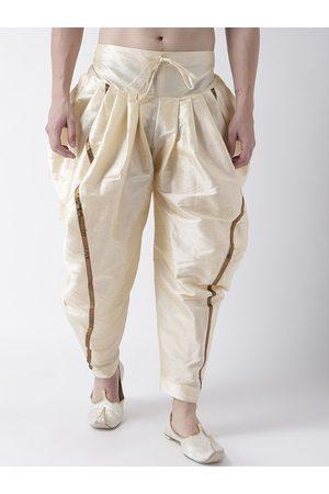 DEYANN Men Cream-Coloured Solid Dupion Silk Dhotis