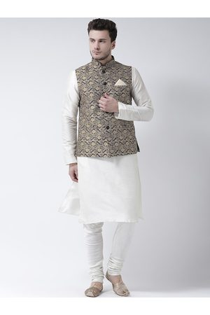 DEYANN Men White & Navy Blue Solid Kurta with Pyjamas & Nehru Jacket