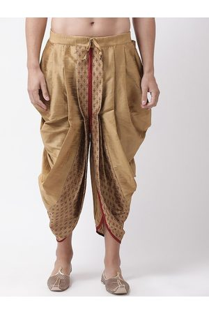 DEYANN Men Brown & Red Printed Dupion Silk Dhoti