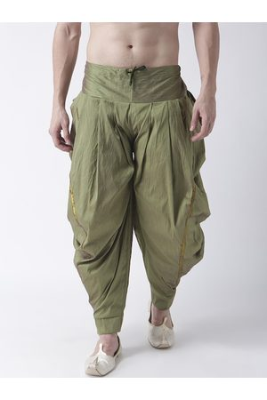 DEYANN Men Green Solid Dupion Silk Dhoti Pants