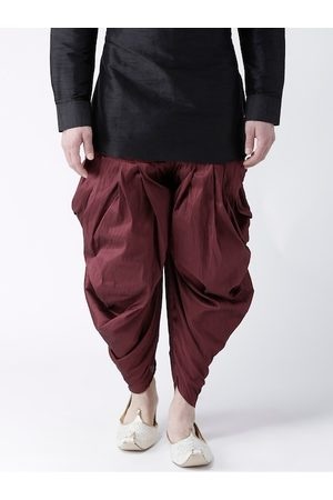 DEYANN Men Burgundy Solid Dupion Silk Dhotis