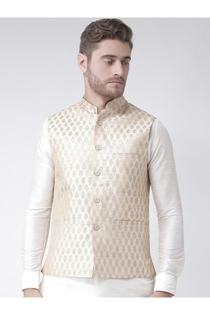 DEYANN Men Beige & Gold-Coloured Woven Design Jacquard Silk Nehru Jacket
