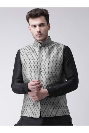 DEYANN Men Grey & Black Printed Woven Nehru Jacket