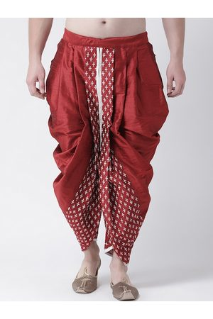 DEYANN Men Men Red & White Printed Dupion Silk Dhoti