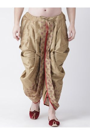 DEYANN Men Brown & Red Printed Dupion Silk Dhoti Pants