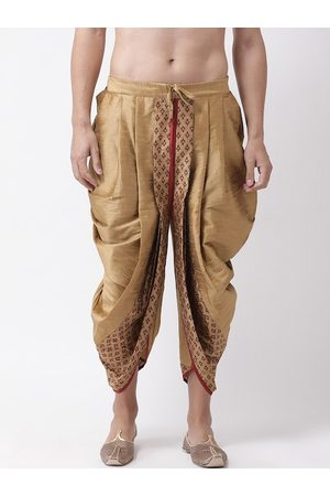 DEYANN Men Gold-Coloured & Red Printed Dupion Silk Dhoti Pants
