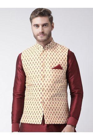 DEYANN Men Beige & Maroon Printed Woven Dupion Silk Nehru Jacket