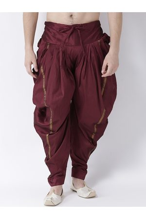 DEYANN Men Maroon Solid Dupion Silk Dhoti Pants