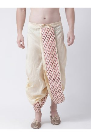 DEYANN Men Cream-Coloured Solid Dupion Silk Dhoti