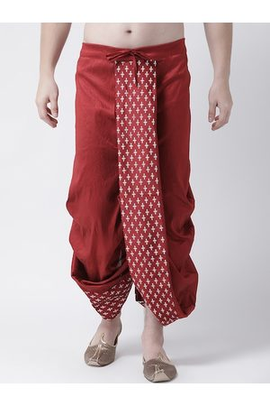 DEYANN Men Red & Gold-colored Printed Silk Dhoti