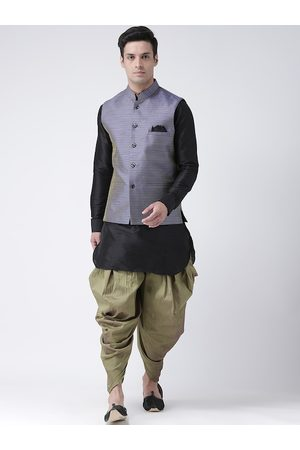 DEYANN Men Black & Olive Green Solid Kurta Set with Nehru Jacket
