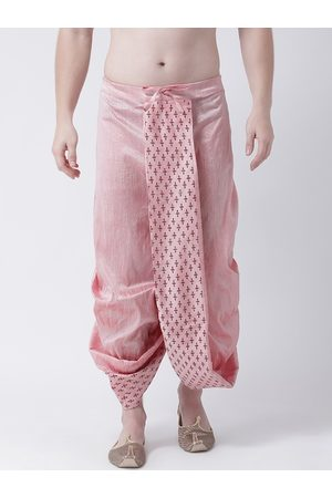 DEYANN Men Pink Printed Dupion Silk Dhoti Pants