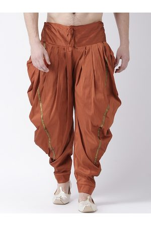 DEYANN Men Rust-Coloured Solid Dupion Silk Dhoti Pants