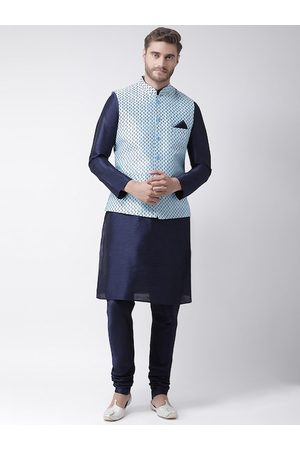 DEYANN Men Navy Blue Solid Kurta with Churidar & Nehru Jacket