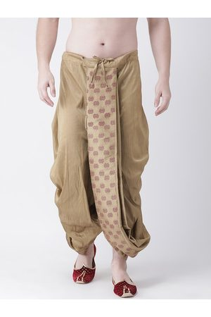 DEYANN Men Brown & Maroon Printed Dupion Silk Dhoti