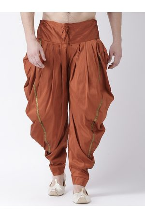 DEYANN Men Orange Solid Dupion Silk Dhoti