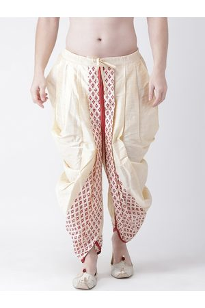 DEYANN Men Red & Gold-Coloured Printed Dupion Silk Dhoti