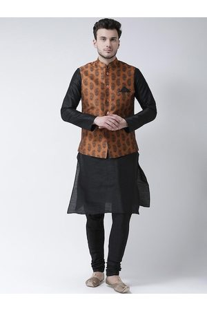DEYANN Men Black Solid Kurta Set with Nehru Jacket