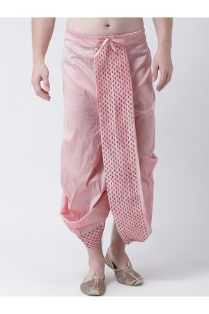 DEYANN Men Pink & Red Printed Dupion Silk Dhoti