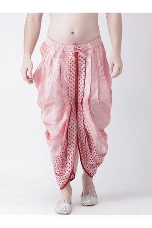 DEYANN Men Pink Printed Dupion Silk Dhoti