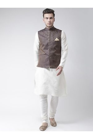 DEYANN Men White & Navy Blue Solid Kurta with Churidar & Nehru Jacket