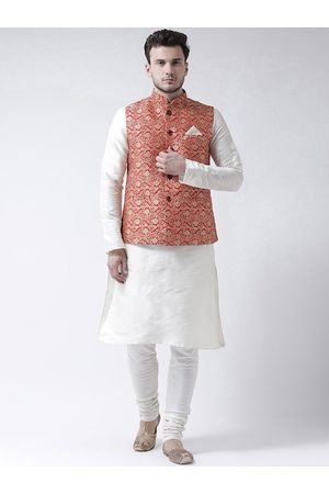 DEYANN Men Red & White Self Design Kurta with Churidar and Nehru Jacket