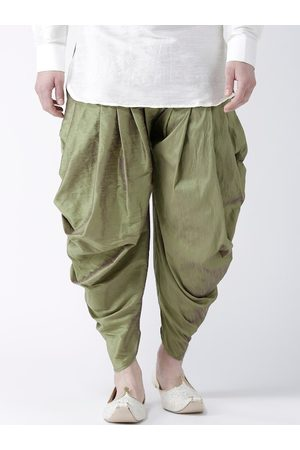 DEYANN Men Olive-Green Solid Dupion Silk Dhotis