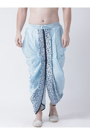 DEYANN Men Blue & White Solid Dupion Silk Dhoti Pants