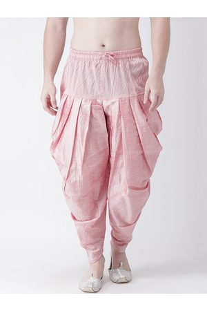 DEYANN Men Pink Solid Dupion Silk Dhoti Pants