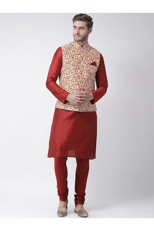 DEYANN Men Maroon & Beige Solid Kurta with Churidar & Nehru Jacket