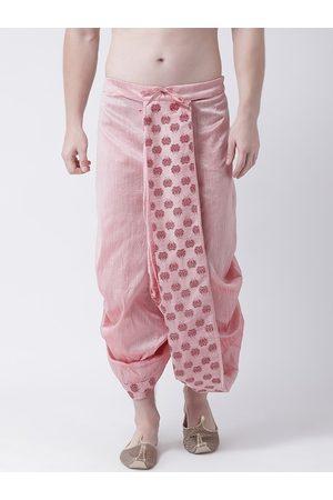 DEYANN Men Pink & Maroon Printed Dupion Silk Dhoti