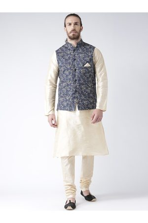 DEYANN Men Cream-Coloured & Navy Blue Solid Kurta with Churidar & Nehru Jacket