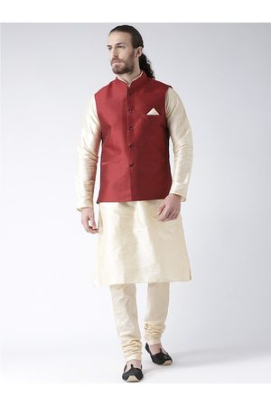 DEYANN Men Red & Cream-Coloured Solid Kurta with Churidarand Nehru Jacket