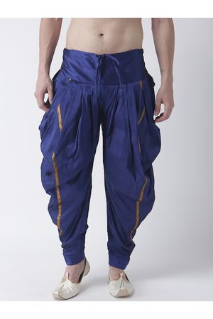 DEYANN Men Blue & Gold-Coloured Solid Dupion Silk Dhoti Pants