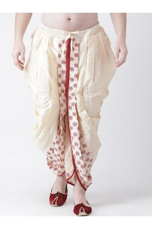DEYANN Men Gold-Coloured & Red Printed Dupion Silk Dhoti