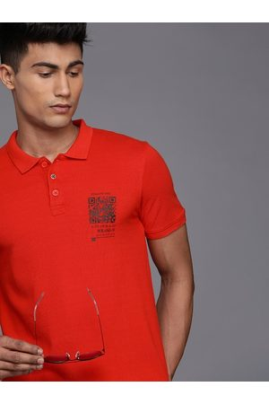 WROGN Men Red Solid Pure Cotton Polo Collar T-shirt