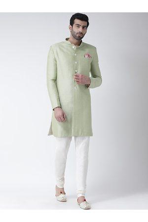 KISAH Men Green & White Self-Design Sherwani Set